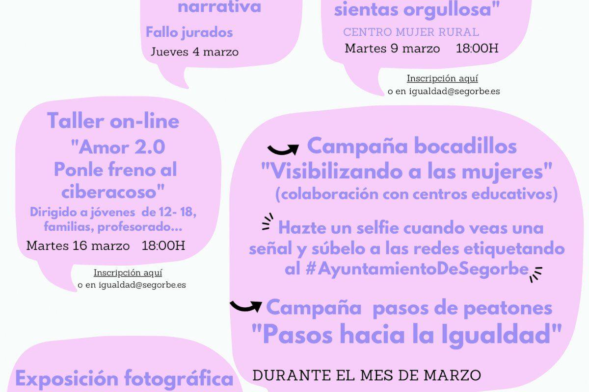 Segorbe celebra el mes de la mujer con exposiciones, talleres, concursos y campañas de concienciación