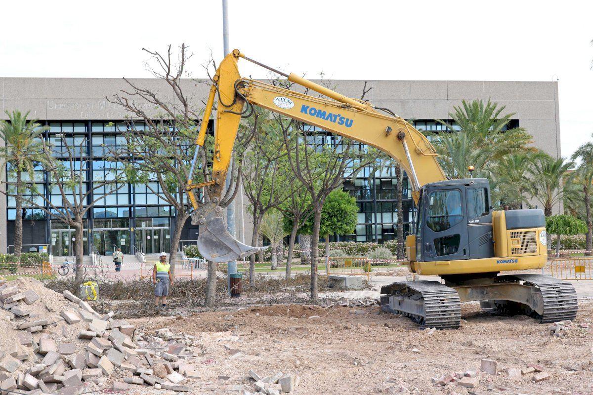 La UMH mejora la urbanización del entorno del edificio La Galia en el campus de Elche