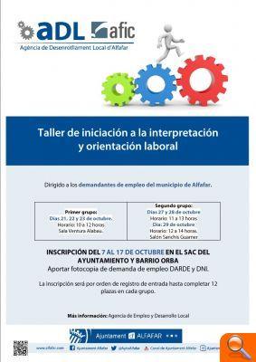 """La AEDL de Alfafar convoca el taller """"Iniciación a la interpretación y orientación laboral"""""""
